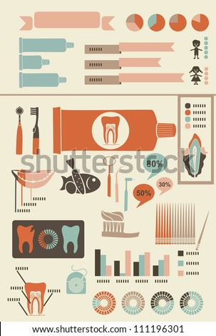 teeth care infographics with icons banners and charts for your text - stock vector