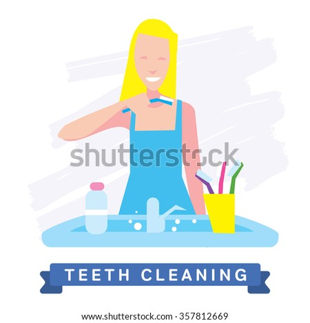 Teeth Cleaning. Morning routine, Hygiene, Clean Teeth, Toothbrush, Toothpaste. Beautiful Smile healthy teeth. Clean teeth - the guarantee of health. - stock vector