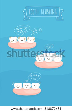 teeth comics about brushing, vector on blue - stock vector