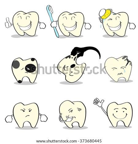 Teeth Dental Health Care Set Collection Flat Vector Illustration - stock vector
