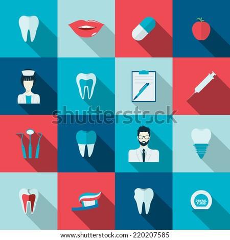 Teeth dental health flat icons set with nurse pulp dentist caries isolated vector illustration - stock vector