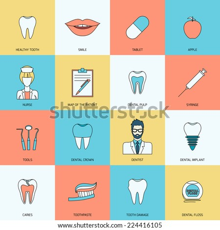 Teeth dental health flat icons set with smile tablet apple isolated vector illustration - stock vector