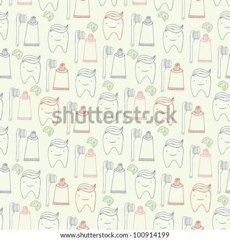 teeth seamless pattern - stock vector