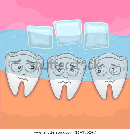 Teeth Sensitive With Cold - Illustration - stock vector