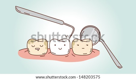 Teeth treatment. Dental illustration for your design. Vector illustration for children dentistry and kids about toothache and treatment. Sad tooth, plaque, dental deposit. Comics, strip. Humor. - stock vector