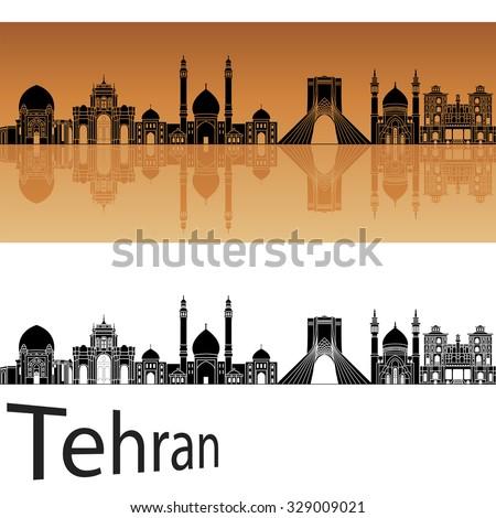 Tehran skyline in orange background in editable vector file - stock vector