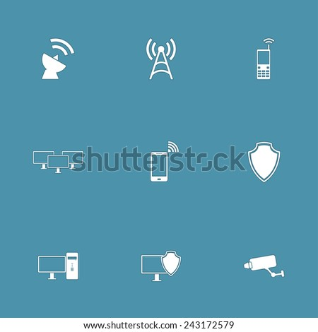 Telecom Communication Vector Icon Design Set