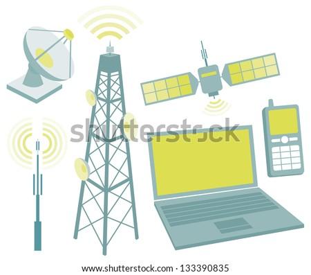 Telecommunication equipment icon set - stock vector