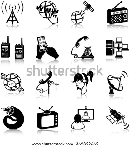Telecommunication related vector icons / silhouettes - stock vector
