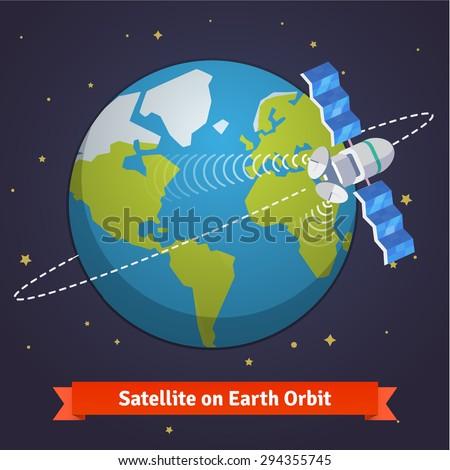 Telecommunication satellite on the earth geostationary orbit in near space. Flat style vector cartoon illustration. - stock vector