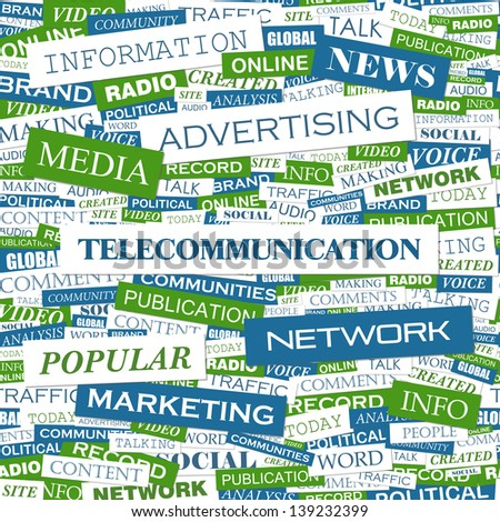 TELECOMMUNICATION. Word cloud concept illustration. - stock vector