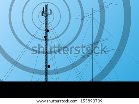 Telecommunications radio tower or mobile phone base station concept background vector - stock vector