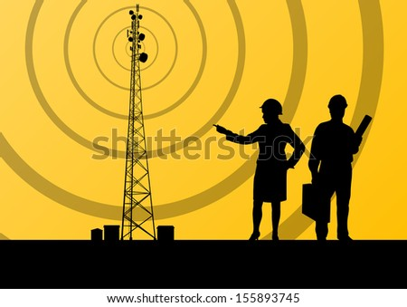 Telecommunications radio tower or mobile phone base station with engineers in concept background vector - stock vector