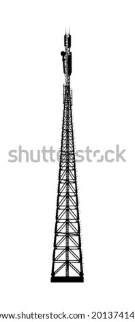 Telecommunications tower. Radio or mobile phone base station. Vector EPS10. Isolated on white background. - stock vector