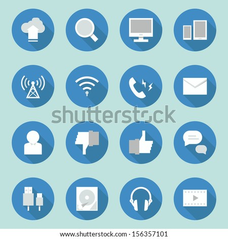 telecoms- media icons  design, vector - stock vector