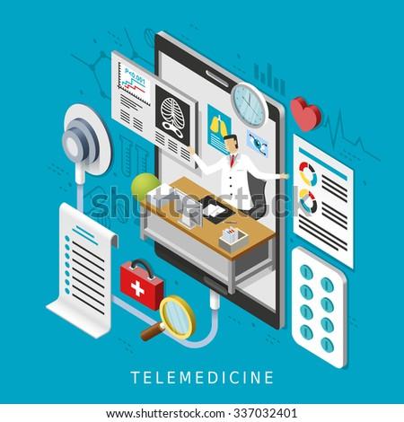 telemedicine concept in 3d isometric flat design - stock vector