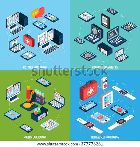 Telemedicine design concept set with isometric health monitoring icons isolated vector illustration - stock vector