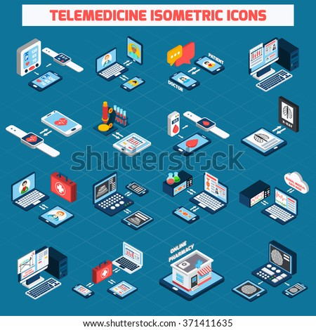 Telemedicine isometric icons set with 3d digital health devices isolated vector illustration - stock vector
