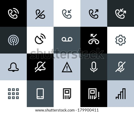Telephone and call logs icons. Flat - stock vector