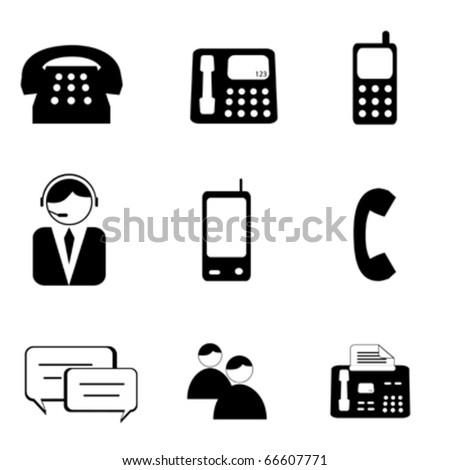 Telephone and communication icon set - stock vector
