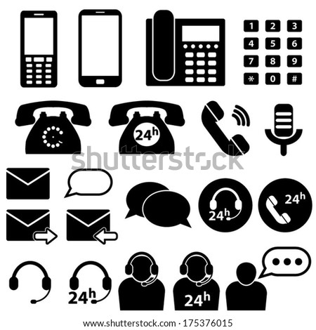 Telephone and Communication Icons - stock vector