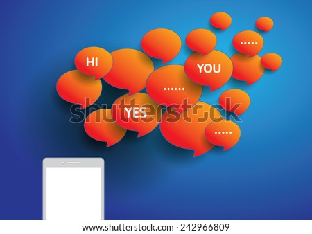 Telephone and messages box orange color on background blue color. - stock vector