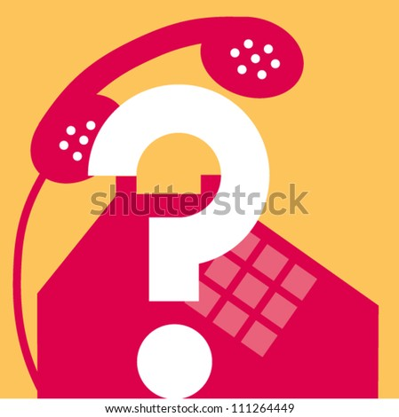 Telephone and question mark - stock vector