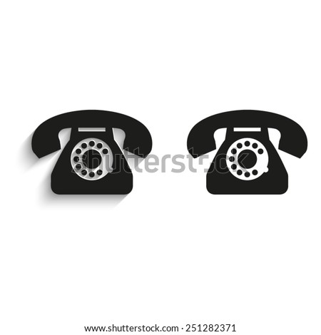 telephone - black vector icons - stock vector