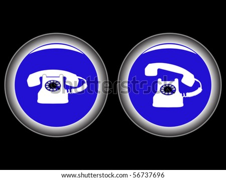 telephone blue icons against black background, abstract vector art illustration - stock vector