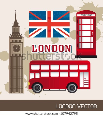 telephone booth,  flag london with bus and tower clock. vector illustration