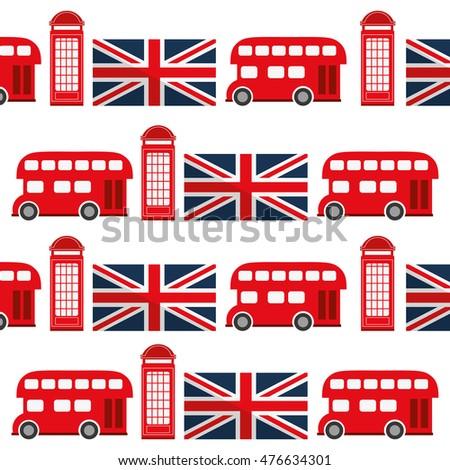 Telephone Bus Flag London England Landmark Culture Europe Icon Flat Background And Isolated Design
