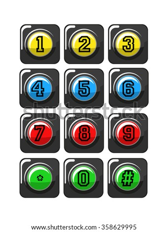 Telephone buttons isolated on white, vector illustration