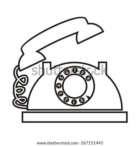 telephone, contour - stock vector