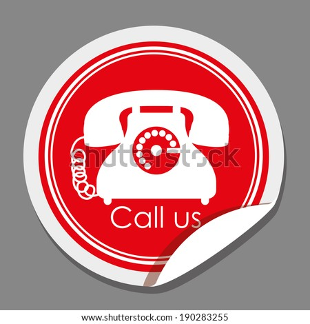Telephone design over gray background, vector illustration