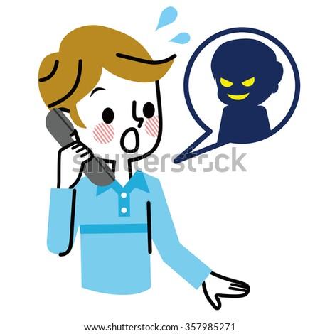 Telephone fraud. - stock vector