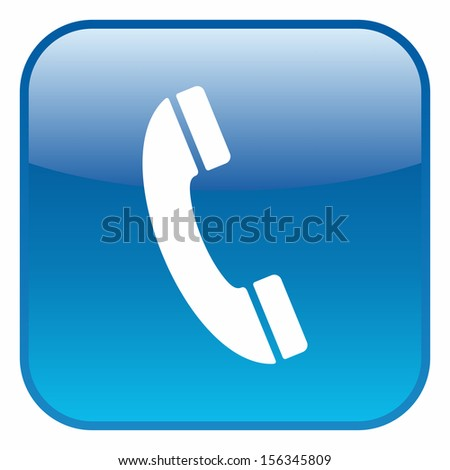 Telephone (glossy rounded button, blue version) - stock vector