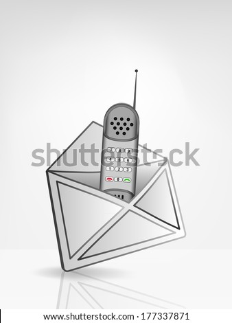 telephone handset in opened white envelope or email message vector illustration - stock vector