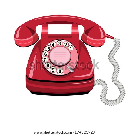 Telephone icon red, vector old rotary dial vintage phone on white background - stock vector