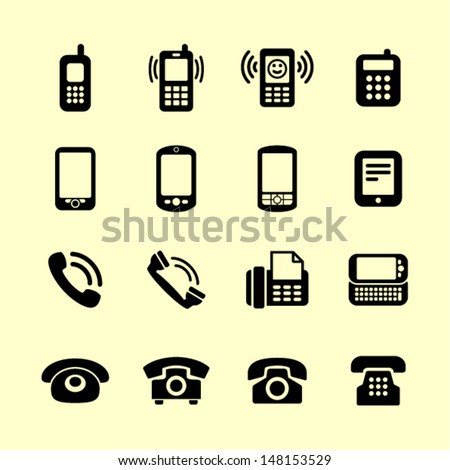 Telephone icon set for web - stock vector