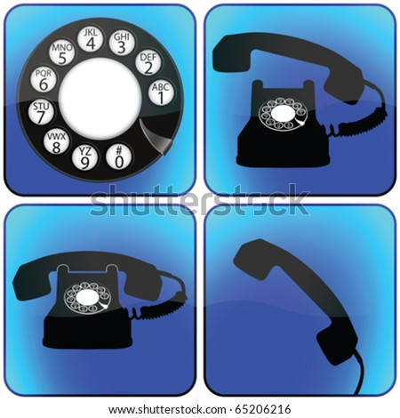 telephone icons collection against white background, abstract vector art illustration - stock vector
