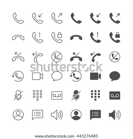 Telephone icons, included normal and enable state. - stock vector