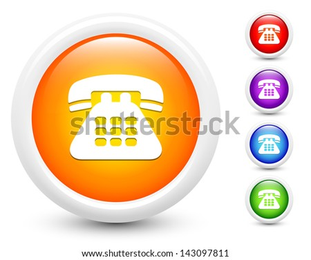 Telephone Icons on Round Button Collection Original Illustration - stock vector