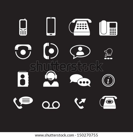 Telephone icons set - stock vector