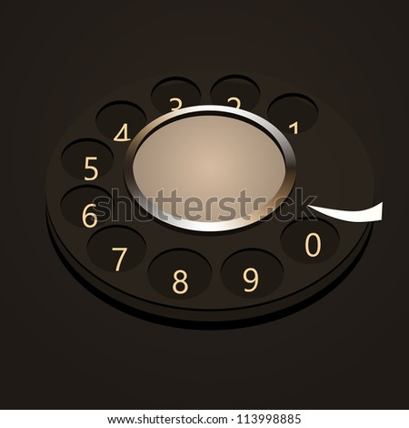 telephone numbers, abstract disk against dark background. - stock vector