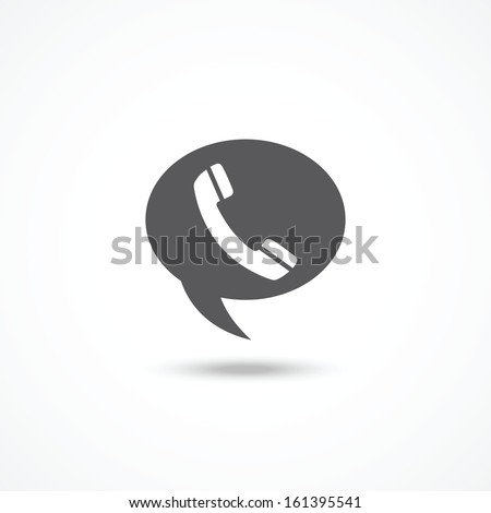 Telephone on word bubble speech - stock vector