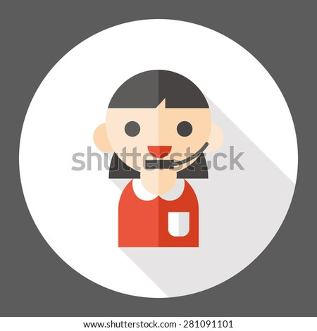 telephone operator flat icon with long shadow - stock vector