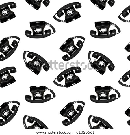 telephone retro seamless pattern, abstract texture; vector art illustration; image contains transparency - stock vector