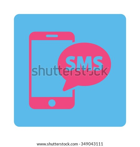 Telephone Sms vector icon. Style is flat rounded square button, pink and blue colors, white background. - stock vector