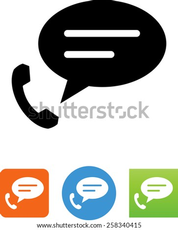 Telephone with speech bubble symbol. Vector icons for video, mobile apps, Web sites and print projects.  - stock vector