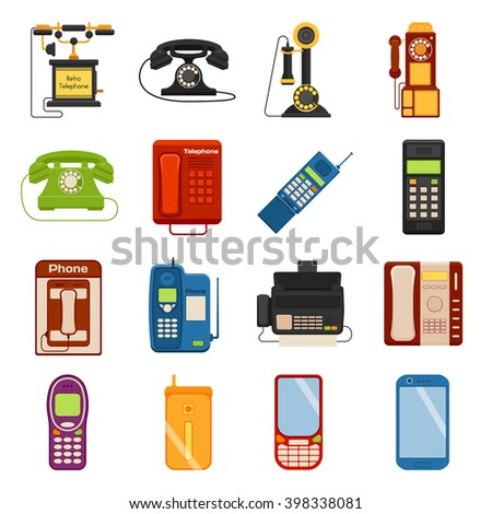 Telephones call contact and business telephones. Classic telephones technology support symbol, retro telephones mobile equipment. Telephones communication call contact device vector set. - stock vector